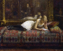 «El artista y su modelo», de Alexei Harlamoff (1842-1922).