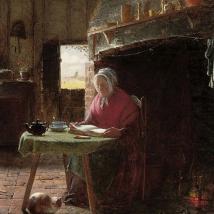 «Lectura junto al fuego» (1857), de Frederick Daniel Hardy.